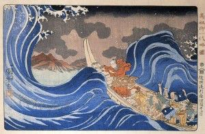 Nichiren crosses the sea to Sado